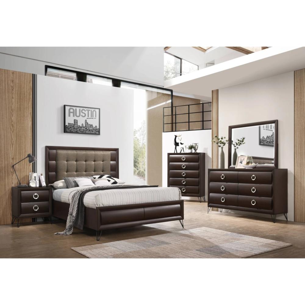 Acme Tablita Dark Brown Fabric Finish 4 Piece Eastern King Bedroom Set インテリア