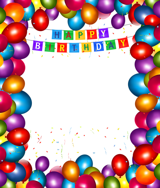 Happy Birthday Transparent Balloons PNG Frame   *Printable ...