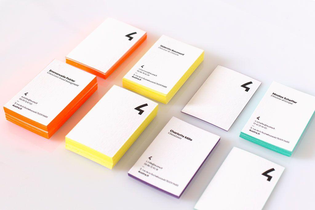 Cartes De Visite Imprimes En Letterpress Noir Recto Verso Sur Papier Extra Blanc 500g 25 Versions Avec Diffrentes Couleurs Tranches Design Agence