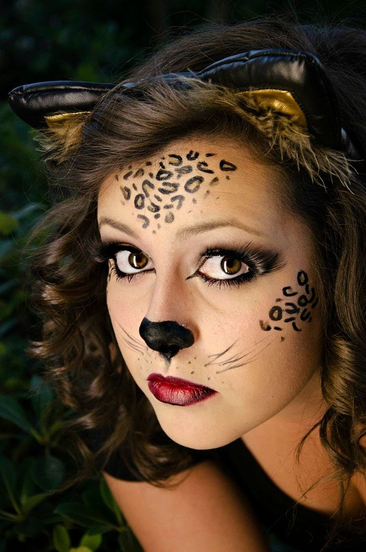 Leopard Makeup For Halloween Monica Gonzales This Could Be Your Costume Dress In Black And Paint Yo Cat Halloween Makeup Cat Face Makeup Cute Halloween Makeup