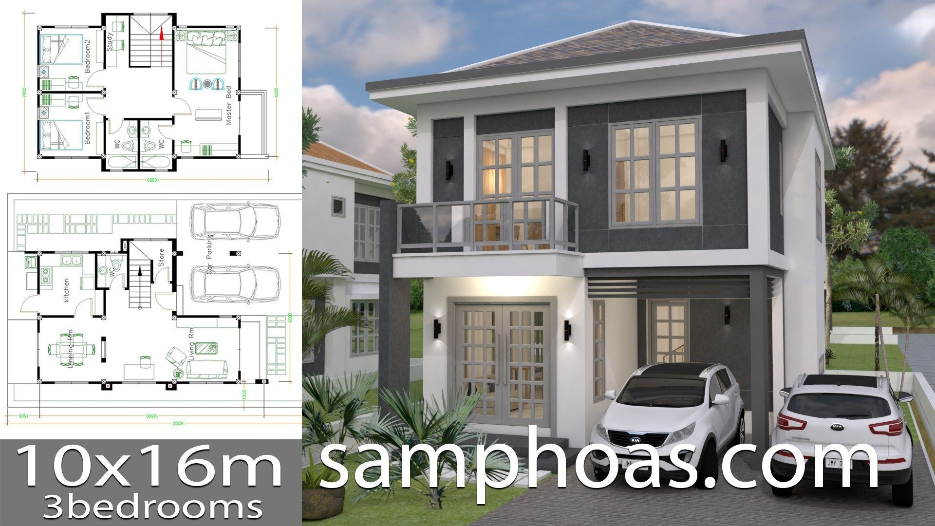 House Plans 10x16m With 3 Bedrooms Sam House Plans House Plans House Layout Plans Home Design Plans