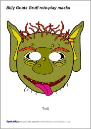 excellent free printable masks for the 3 billy goats gruff