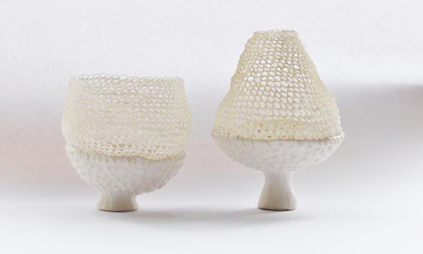 Porcelain And Thread Vessels, Katherine Wheeler, 2012.