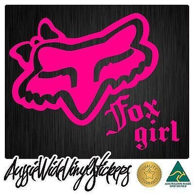 Fox sticker girls decal head for car window cute racing motocross mx race chick