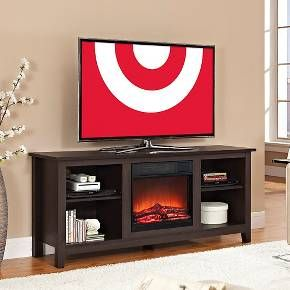 "Walker Edison 58"" Black Wood TV Stand with Fireplace"