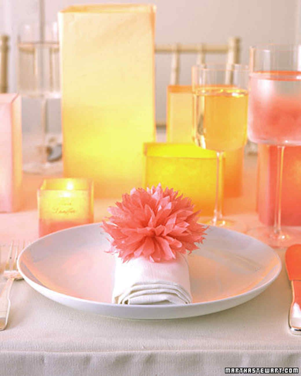 PomPoms and Luminarias  Napkin rings Napkins and Paper flower