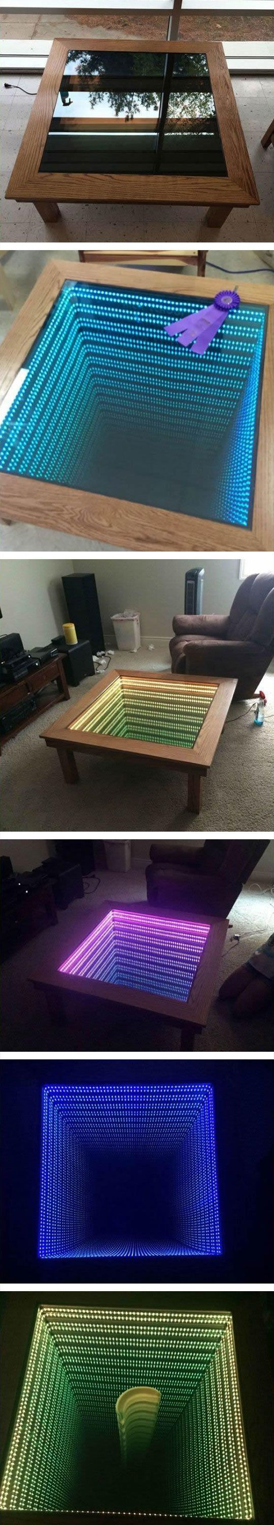 how to build an infinity table man cave ideas infinity table table infinity mirror table. Black Bedroom Furniture Sets. Home Design Ideas