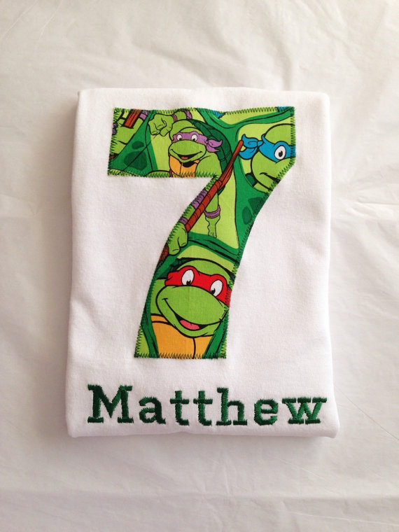 Teenage Mutant Ninja Turtle Birthday Shirt Kids Personalized Applique Name T Sh In 2021 Ninja Turtle Birthday Ninja Turtles Birthday Party Ninja Turtle Birthday Shirt