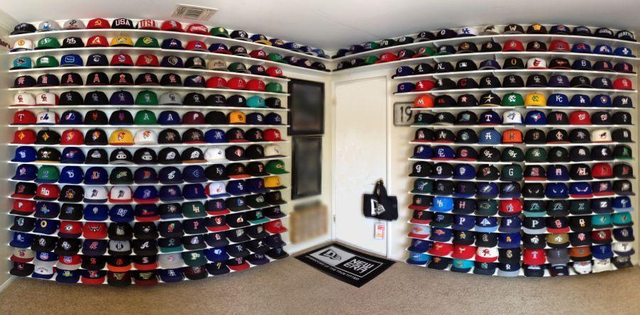 A custommade cap wall from New Era fan John B. man cave