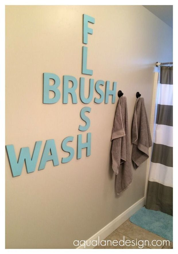 Diy bathroom wall art pinterest chic design wall decor for bathroom 29 ways to design your kid s dream bathroom hanging letters dream solutioingenieria Gallery