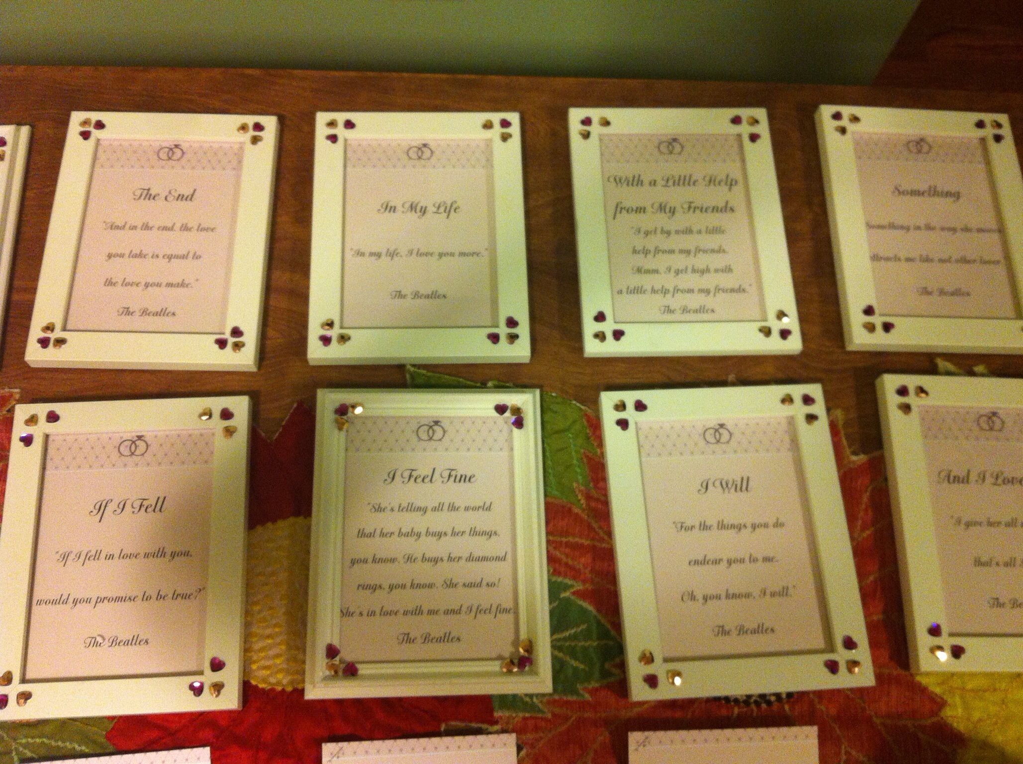 "Table Names Wedding beatles themed wedding. table names are beatles songs. | ""i will"