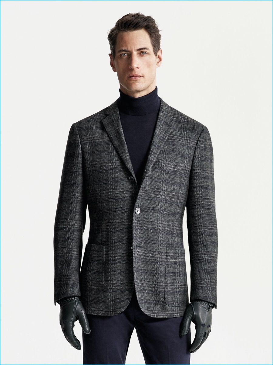 Go for a classic style in a charcoal plaid wool sport coat