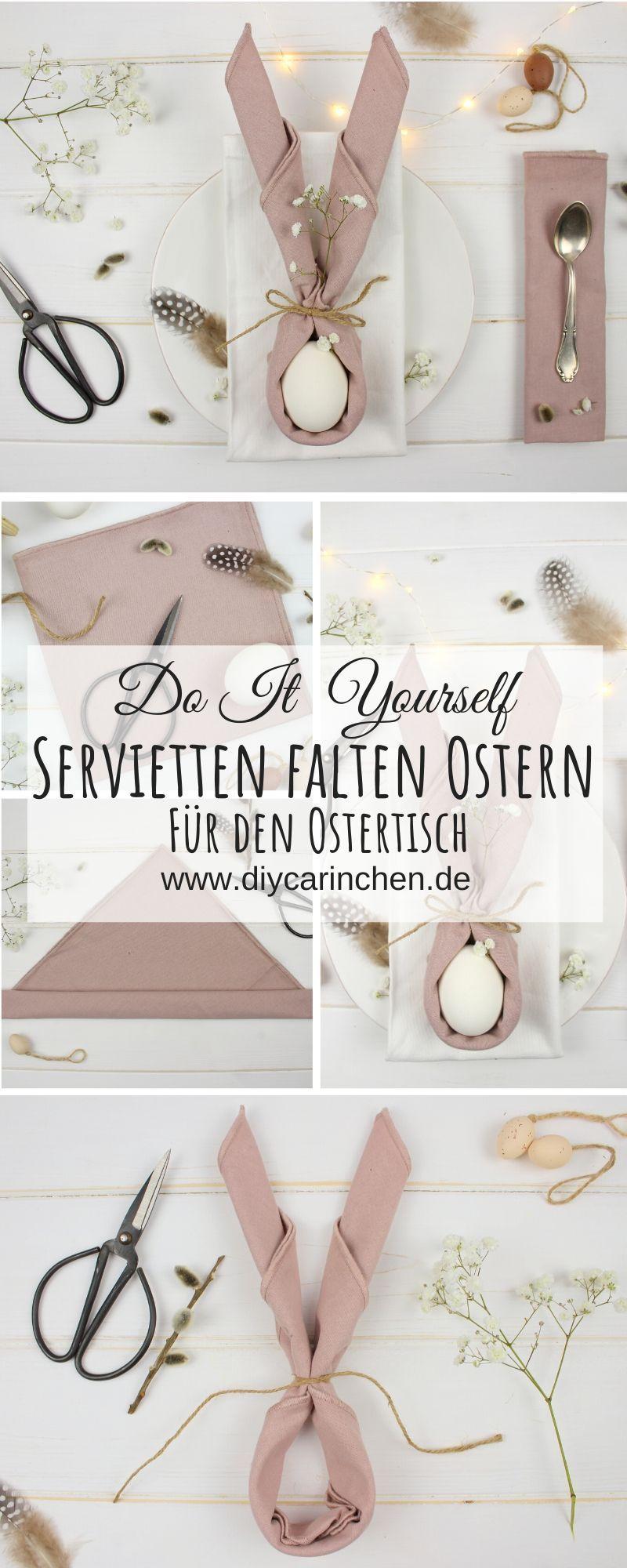 DIY - Servietten zu Hasenohren falten - perfekte Deko für den Ostertisch
