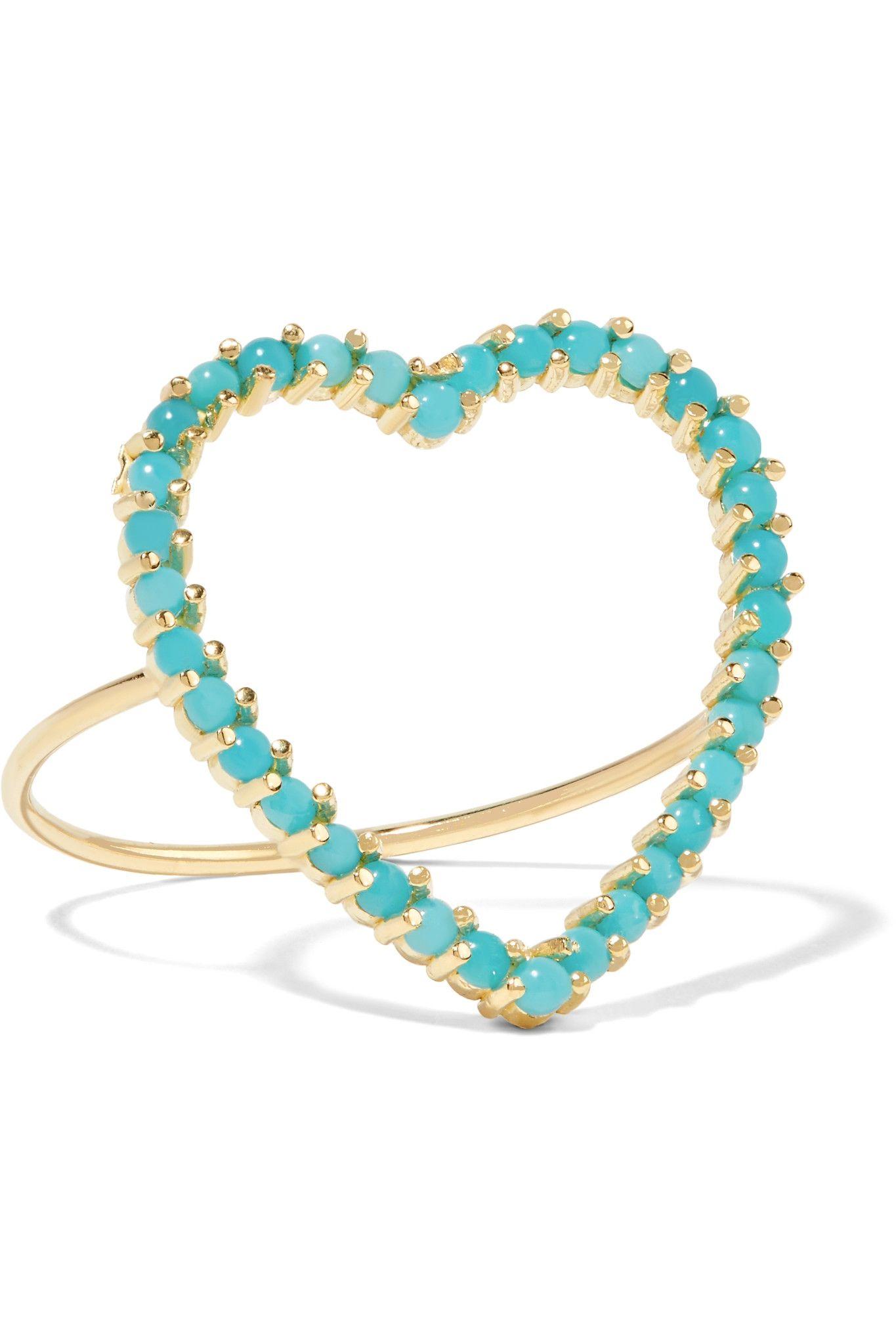 Jennifer Meyer Heart 18-karat Gold Turquoise Earrings 9TVK0