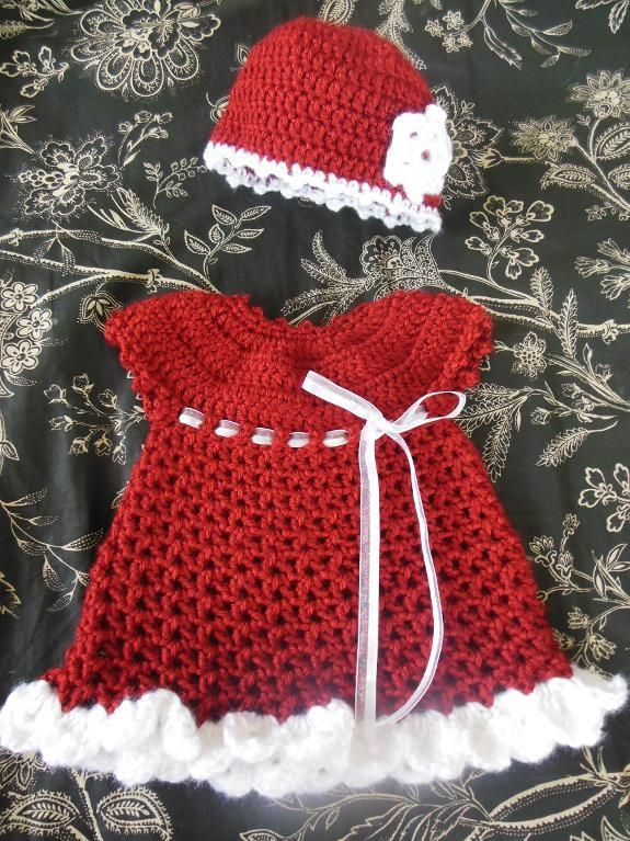 Free pattern for dress can be found here: http://www.redheart.com ...