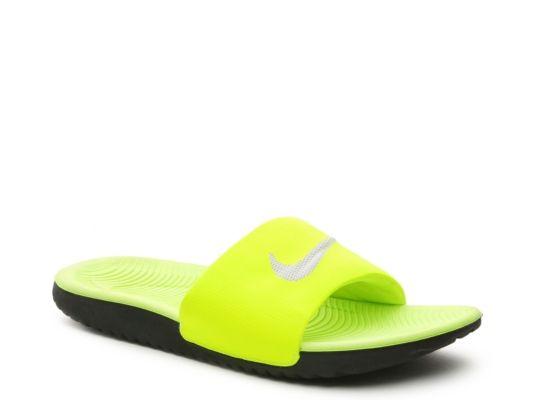 72a608d7eb60 Women s Nike Kawa Slide Sandal - Neon Green Silver