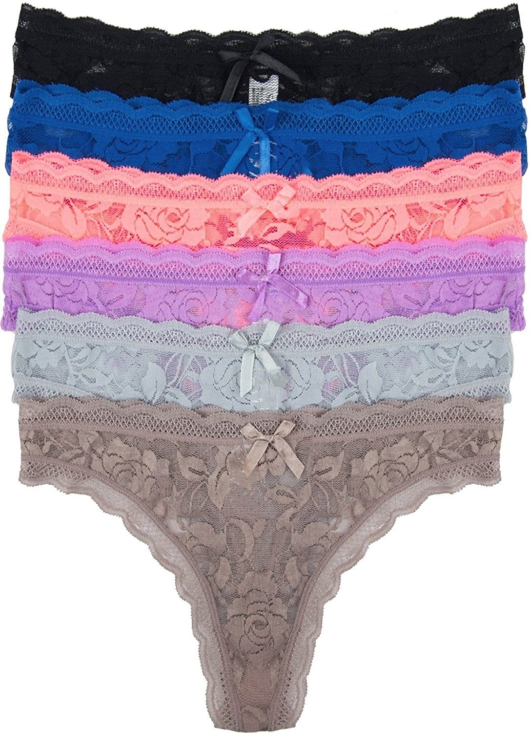 Curve Muse 6 Pack Womens Low Rise Lace G-Strings Thong Panties