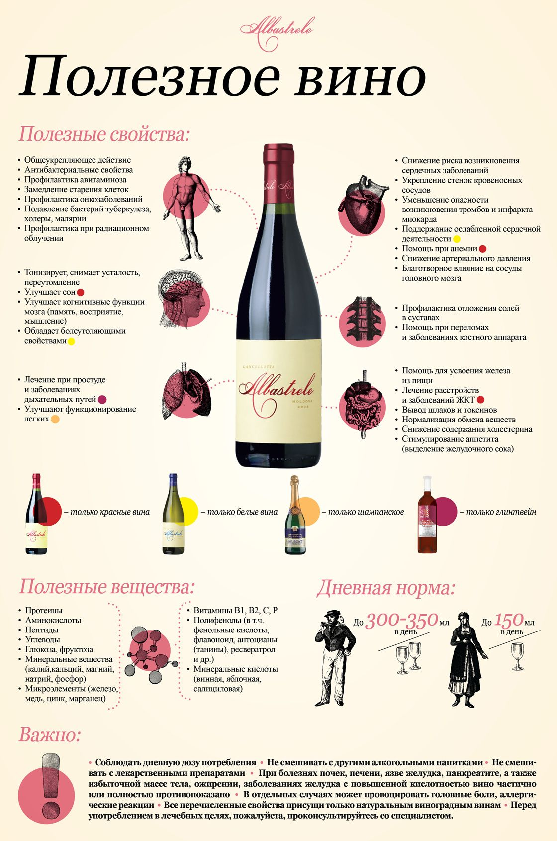 The Benefits of Wines. Wine Infographics by Albastrele Wines. | Польза вина, инфографика Albastrele Wines