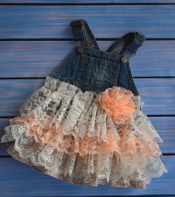 4f3b38ce3 denim overall lace ruffle dress rustic wedding first birthday party baby  toddler coral ivory 6 9 12 months summer spring Easter country rts