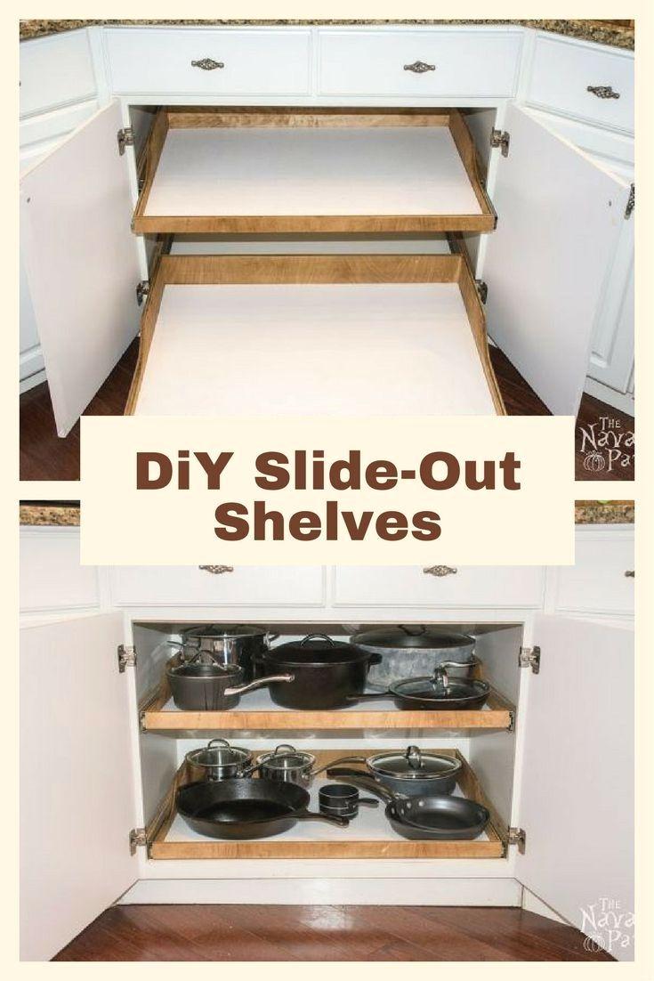 DiY Slide-Out Shelves in 2020   Cheap kitchen makeover ...