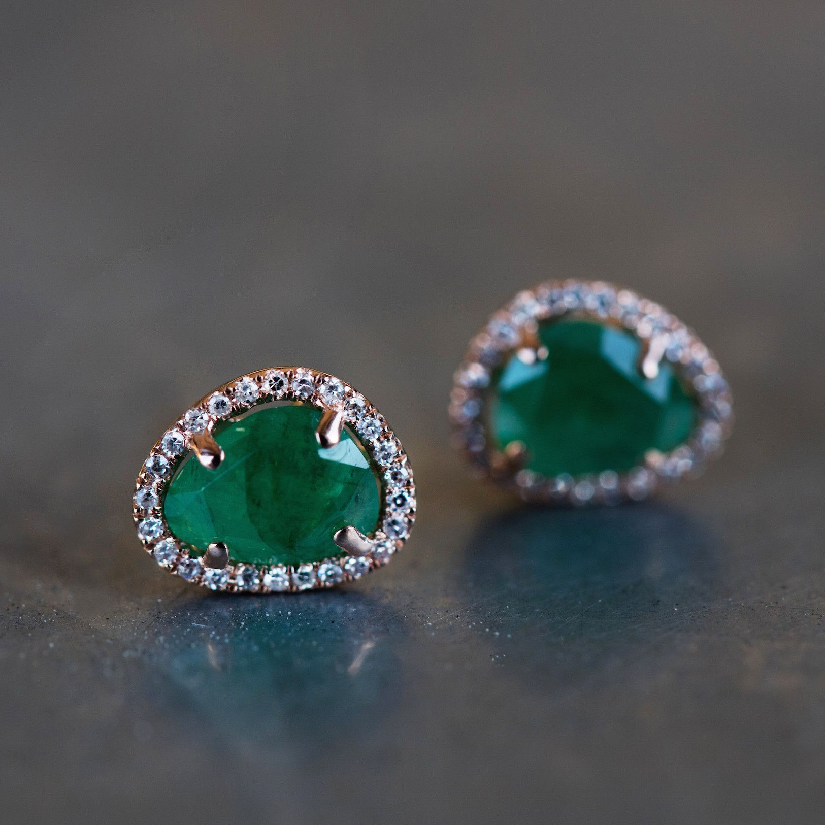 14kt gold and diamond free form emerald studs total diamond weight
