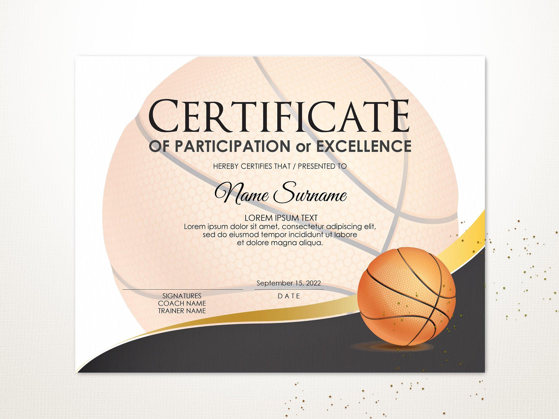 Editable Basketball Certificate Template Sport Certificate Etsy Certificate Templates Printable Sports Templates