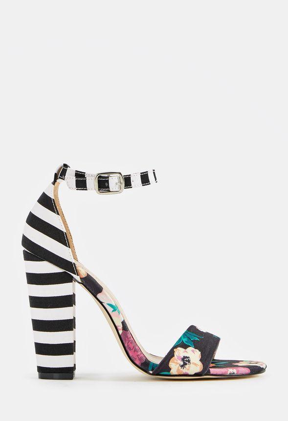 63a81c2717d JustFab Lena Heeled Sandal Womens black/white Size 5.5   Shoes ...