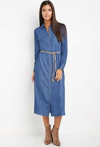 Sale on Contemporary Belted Longline Chambray Dress - Blue Kangaroo 52f733eac2df