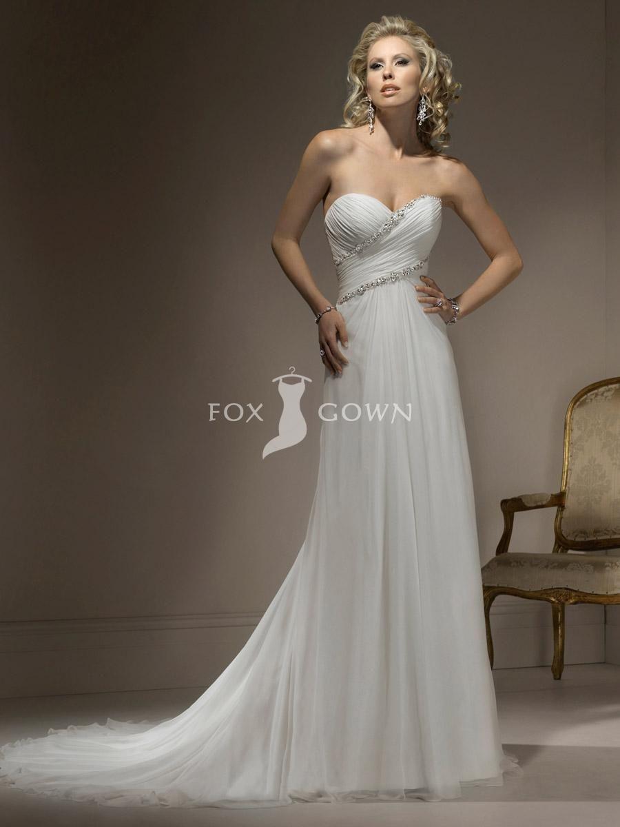 A line chiffon wedding dress  slimlinechiffonweddingdresswithsweetheartnecklinebeaded