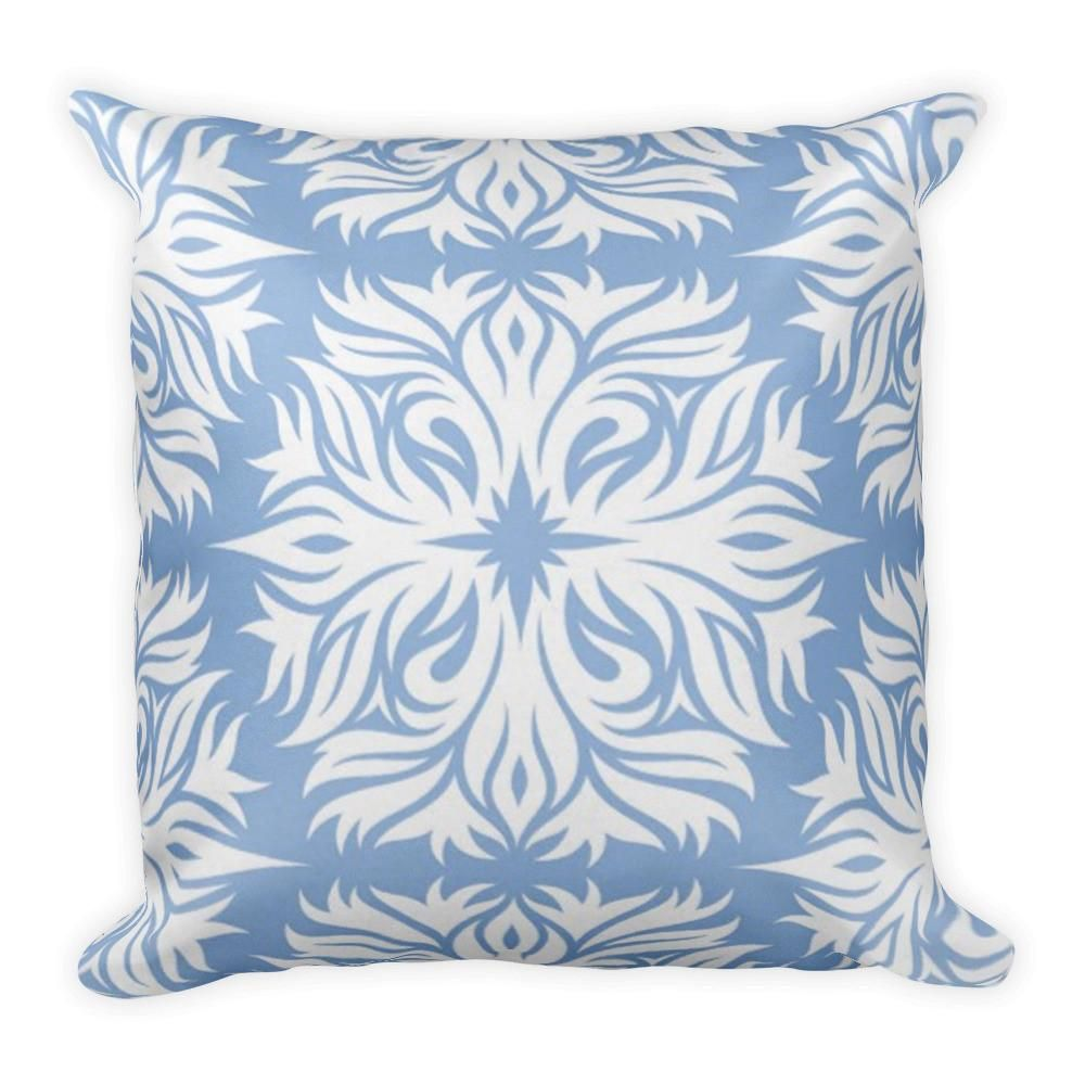 Pillow Abstract Floral Pattern in Periwinkle Blue Throw Pillow ...