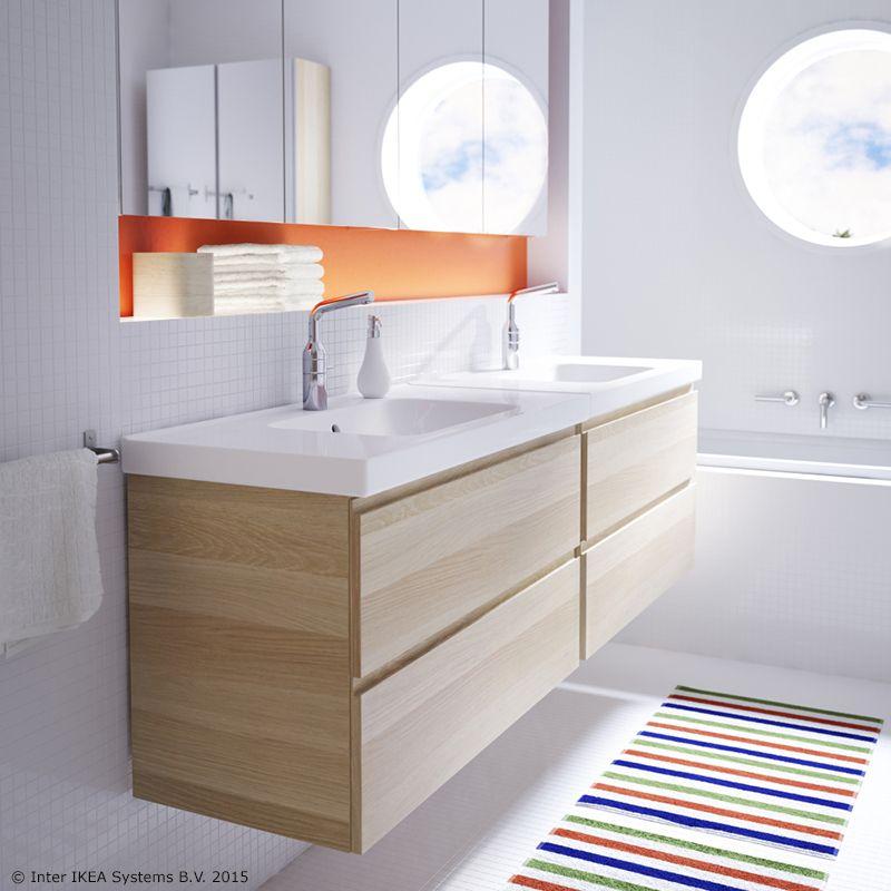 IKEA Godmorgon Wall Mounted Vanity With Braviken Double Sinks