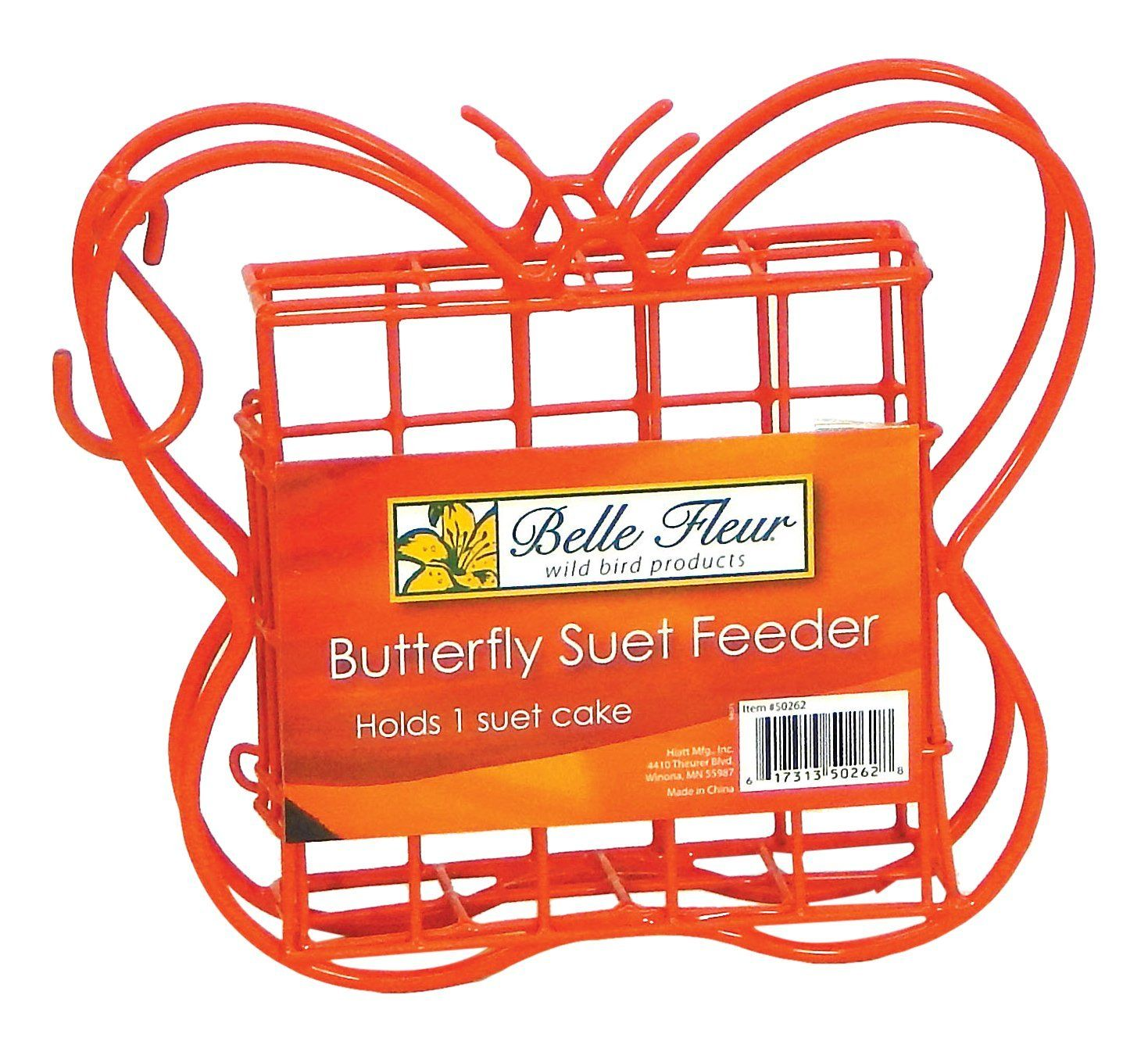 Belle fleur butterfly suet bird feeder red