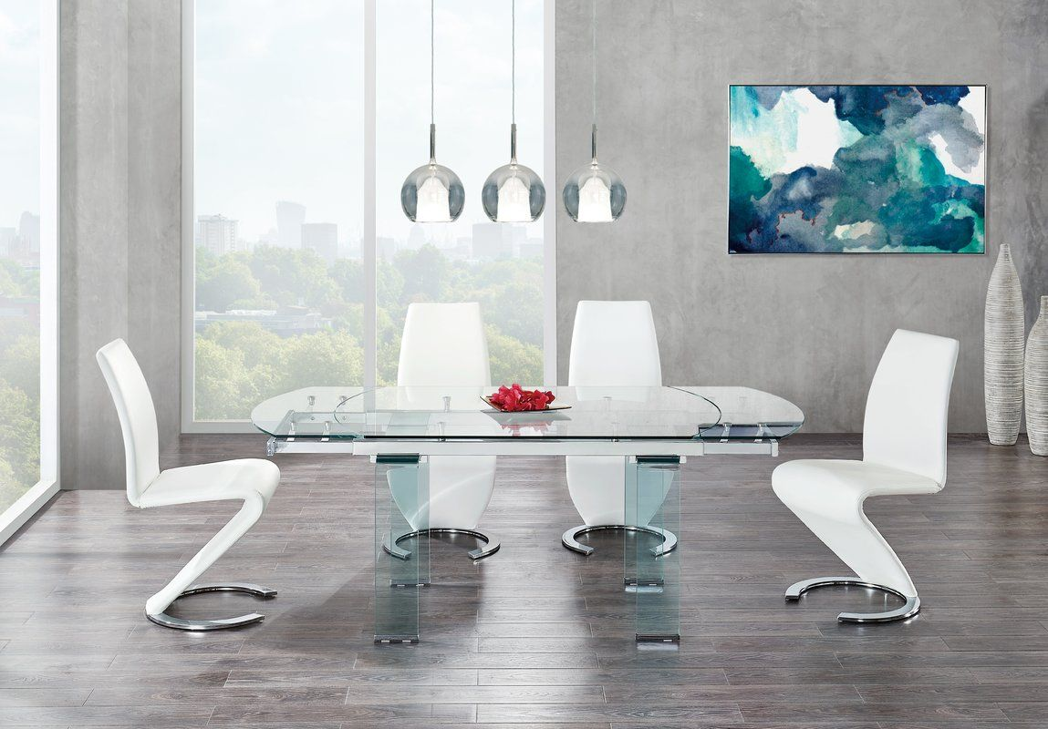 Wilcox Extendable Dining Table In 2020 Dining Table Extendable Dining Table Glass Dining Table