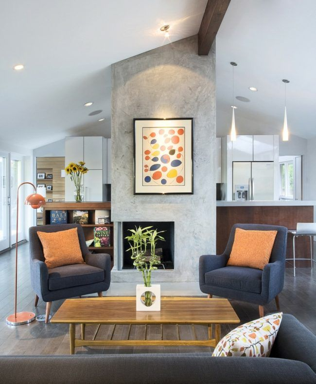 Love the navy and orange in the neutral room. | Home - Living ...