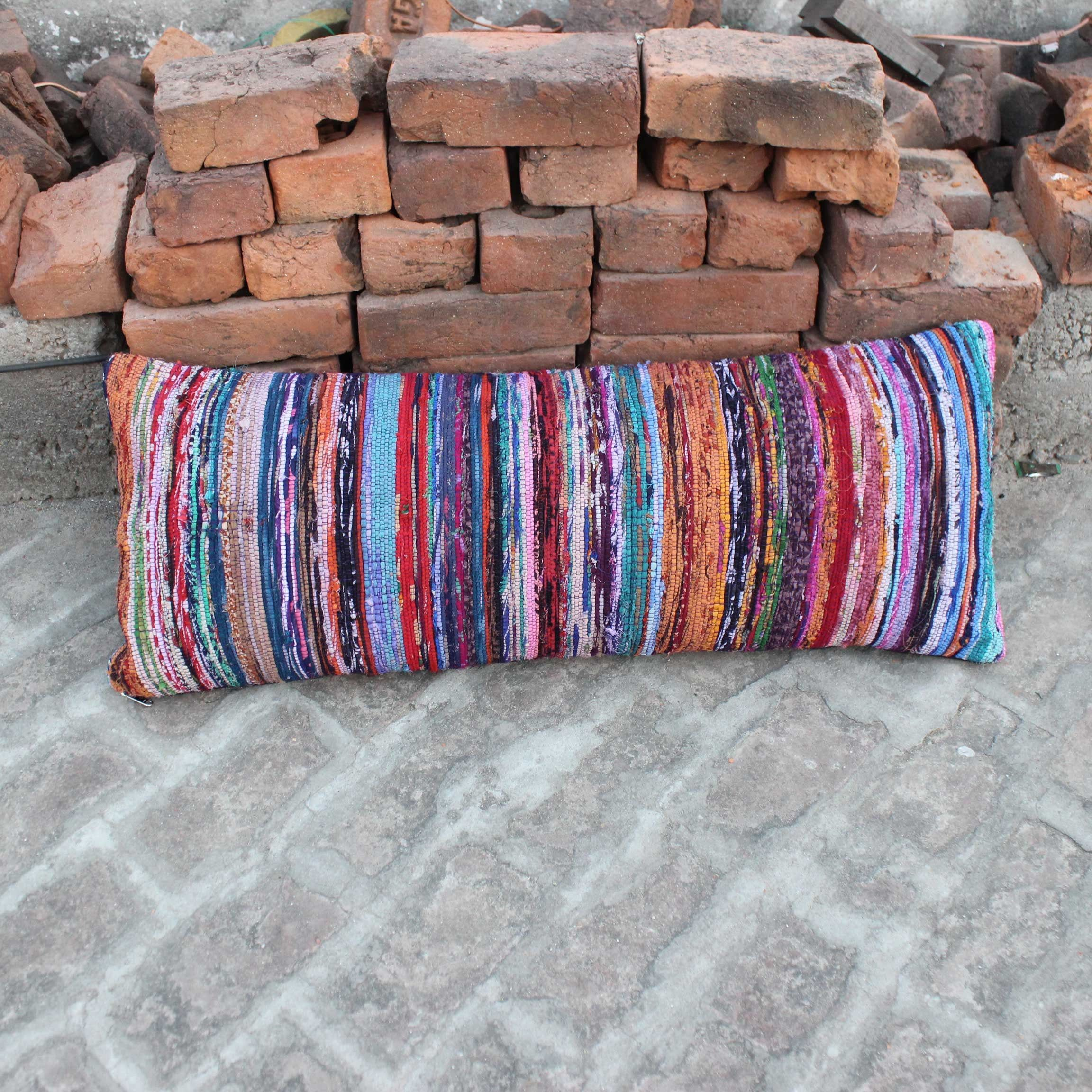 Purple Lumbar Boho Pillow cover Indian pillow Bohemian Lumbar Pillow Rectangular decorative pillow Farmhouse Hand woven Chindi Rug Pillow  Purple Lumbar Boho Pillow cover...