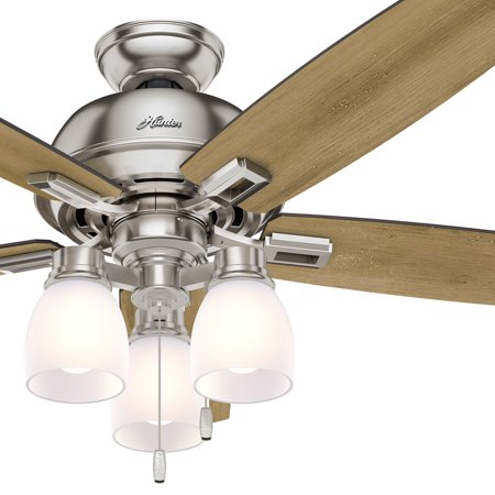 Hunter Fan 52 Inch Ceiling Fan With Three Light Fitter And Clear Frosted Glass In Brushed Nickel Certifie Ceiling Fan 52 Inch Ceiling Fan Hunter Fan