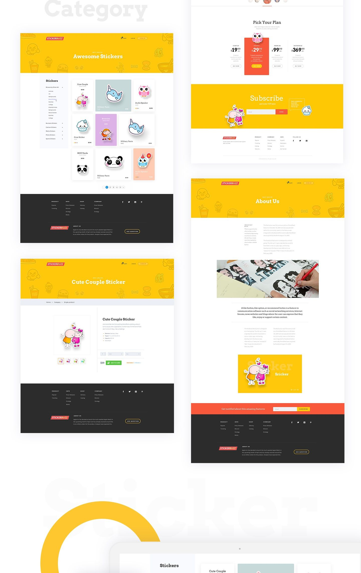 f2a16c6958 Stickerbuzz  Creative E-Commerce Website Design Concept on Behance ...