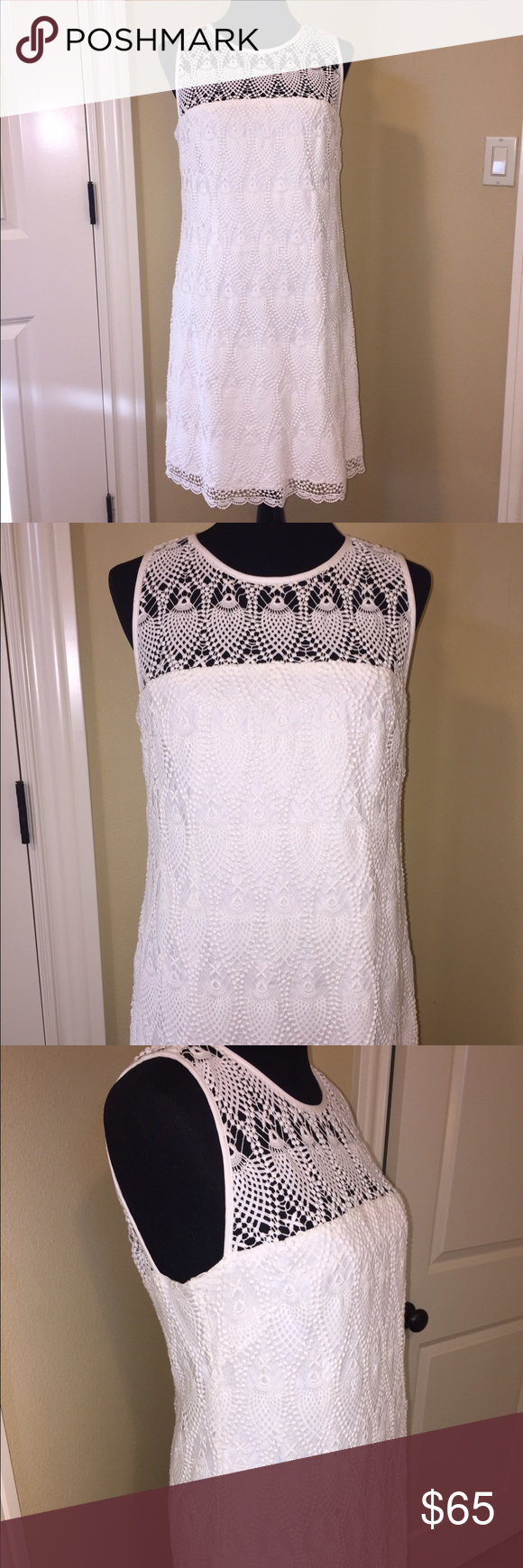 "Trina Turk Crochet Dress Gorgeous Trina Turk white Crochet dress. Lined. Button closure at neck and zips up back.   35.5"" length. 100% cotton. Size 10. Like new. Trina Turk Dresses"