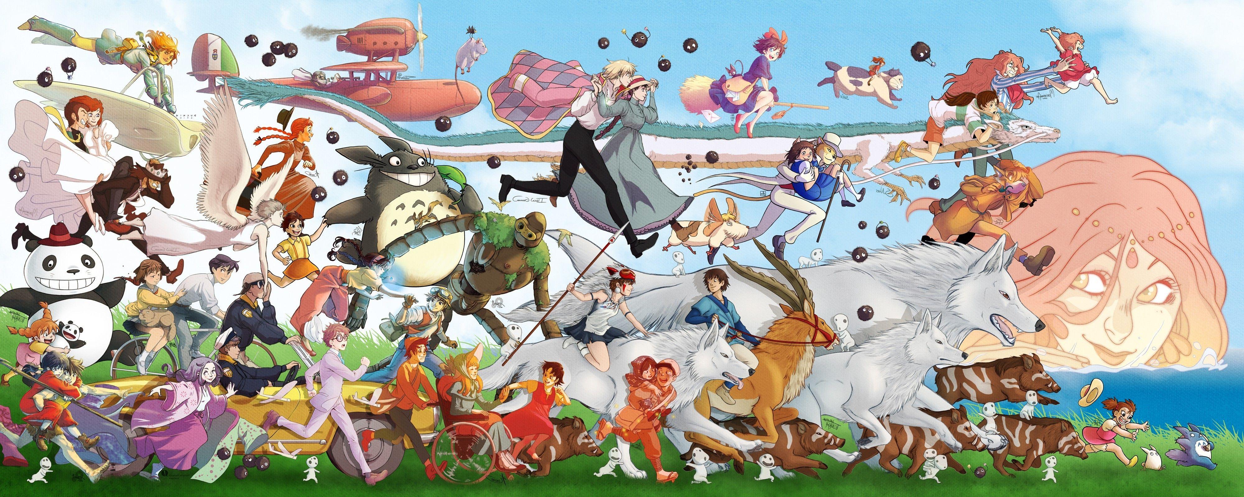 Download Hd Wallpapers Of 38783 Studio Ghibli My Neighbor Totoro Spirited Away Castle In The Anime Art Beautiful Hayao Miyazaki Art Studio Ghibli Characters