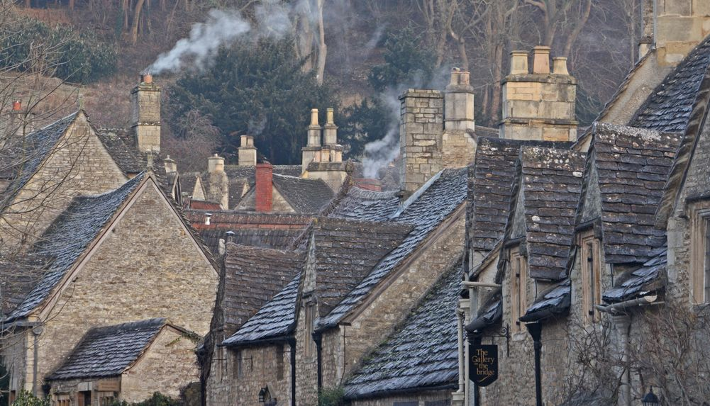 Castle Combe, Wiltshire, England on a frosty morning.