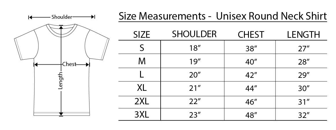 Round neck t shirt size chart images bits of info size charts