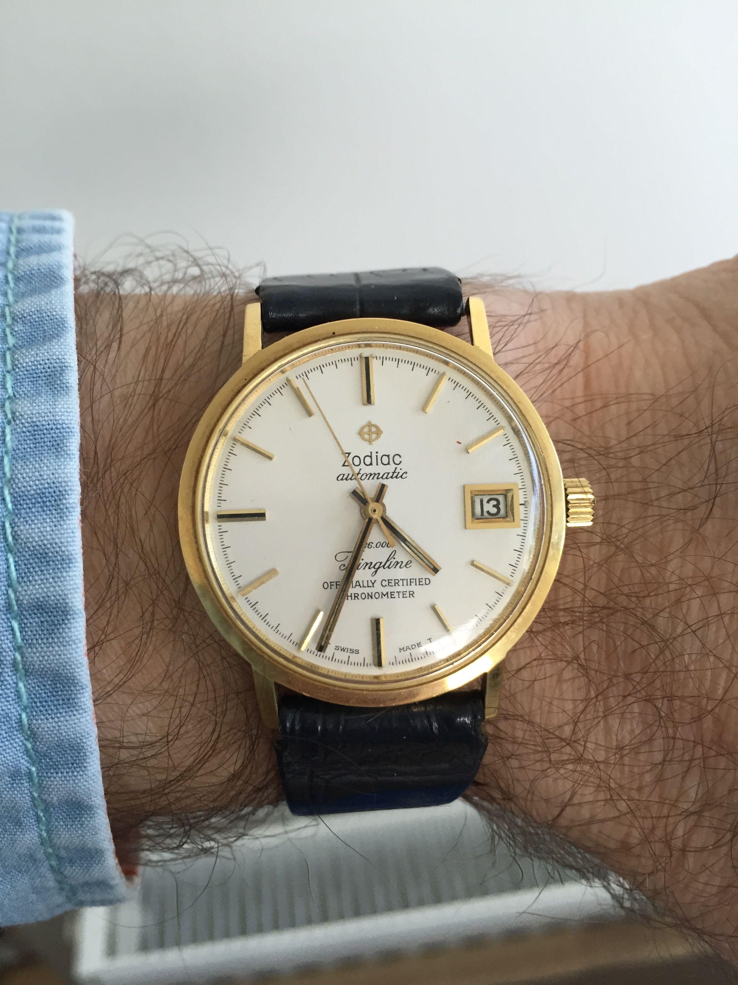 Mit festur: Zodiac Kingline chronometer. Dette var onkel Svends ur, som min morfar forærede mig da jeg var cirka 14 år. Svend var min morfars bror og morfar havde arvet uret. Min far (som var eneforhandler af Zodiac i Danmark) fik sat uret i stand for mig.