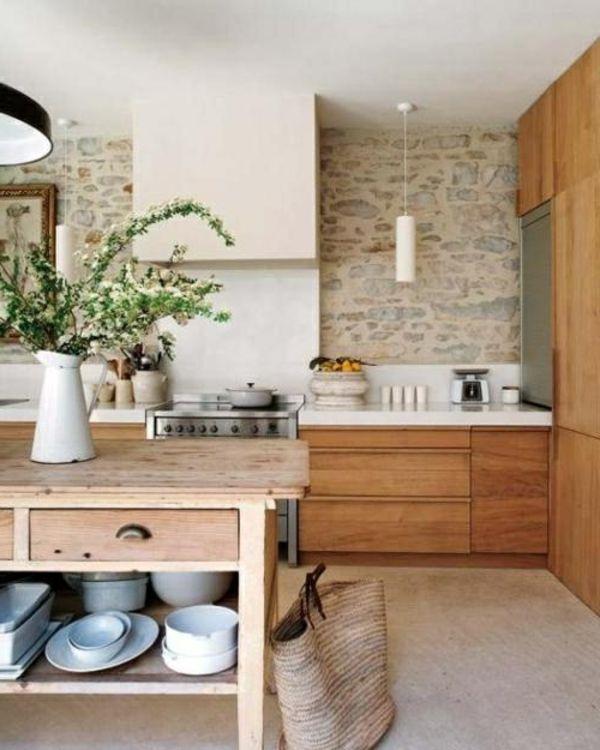 kche tolle wandgestaltung steine holztisch vase kche wand gestalten mit steinen - Wandgestaltung Kuche Beispiele Bilder