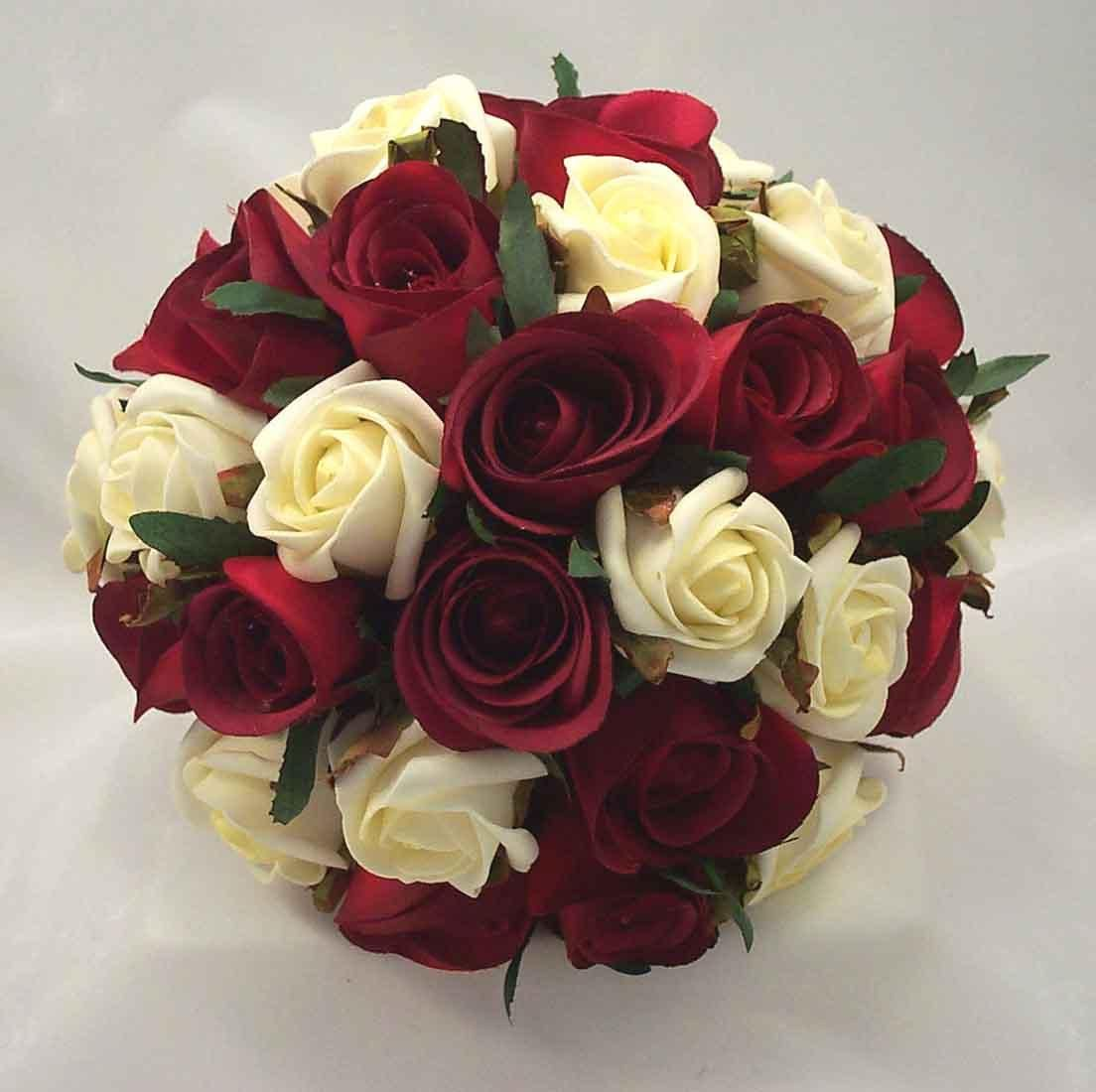 Burgundy ivory rose bouquet wedding flowers bridal ivory flower burgundy ivory rose bouquet wedding flowers bridal izmirmasajfo Choice Image