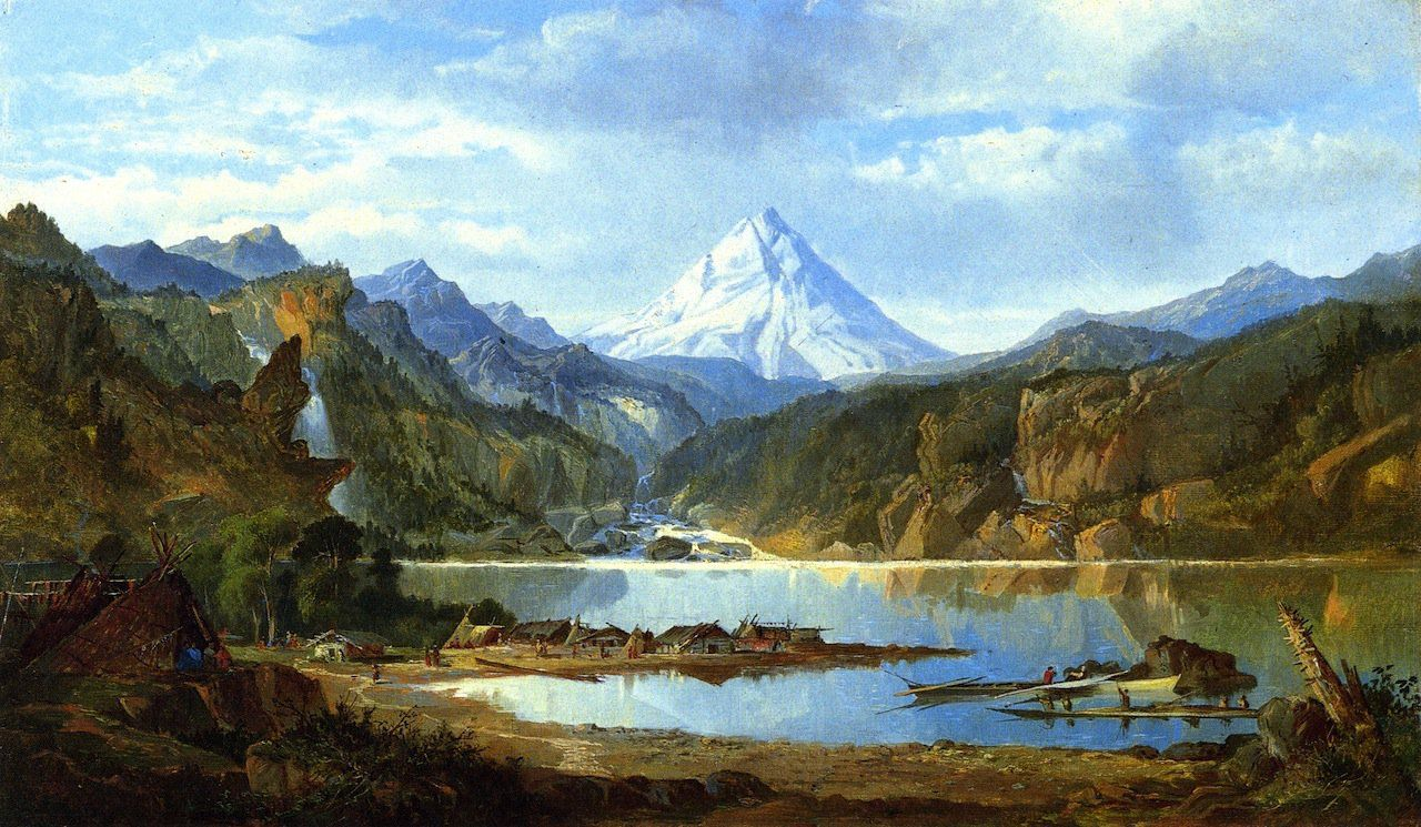 Mountain Landscape with Indians painting - Mountain Landscape With Indians Painting Abstract Landscape