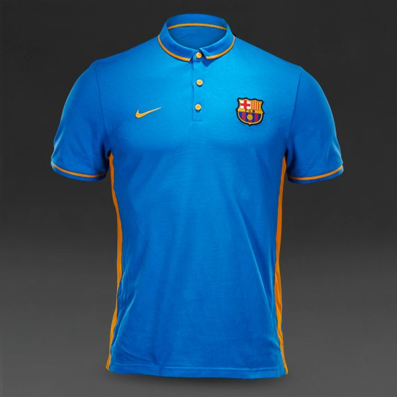 Football Polos - Nike FC Barcelona Authentic League Polo - Replica Clothing  - Light Photo Blue/University Gold