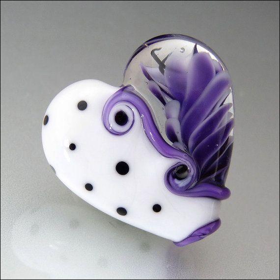 Purple White and Black Heart Glass Bead by beadsbystephanie, $32.00