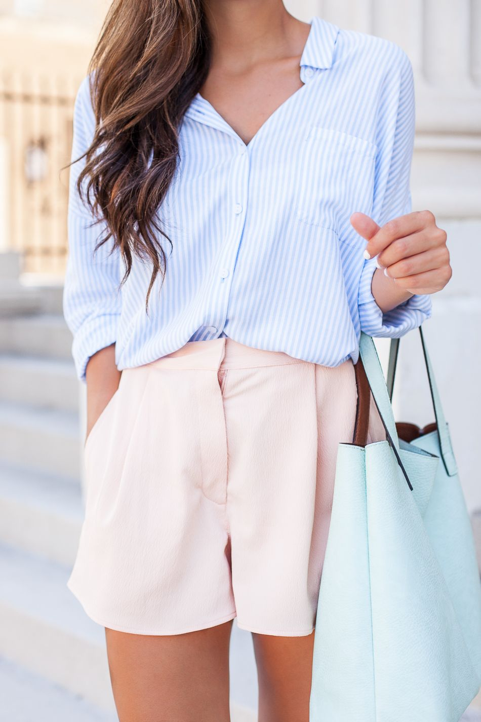 Summer Pastels // Striped Button Down & Pale Pink Shorts