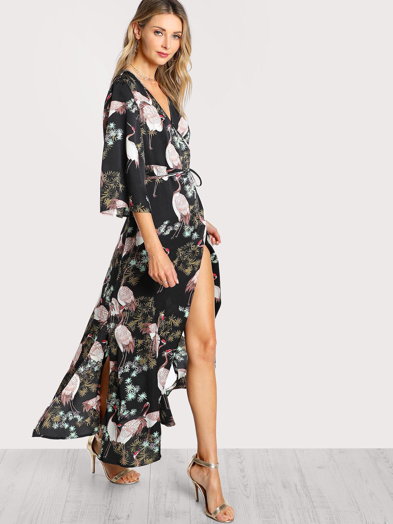 0ca5edf73ad Shop Crane Bird Print Surplice Wrap Hijab Long Dress online. SheIn offers Crane  Bird Print Surplice Wrap Hijab Long Dress & more to fit your fashionable ...