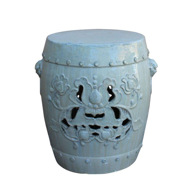 Swell Chinese Off White Round Lotus Clay Ceramic Garden Stool Unemploymentrelief Wooden Chair Designs For Living Room Unemploymentrelieforg